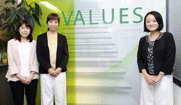 左から 株式会社ヴァリューズ 潮見 萌氏、賈 韶蕾(か しょうらい)氏、子安 亜紀子氏